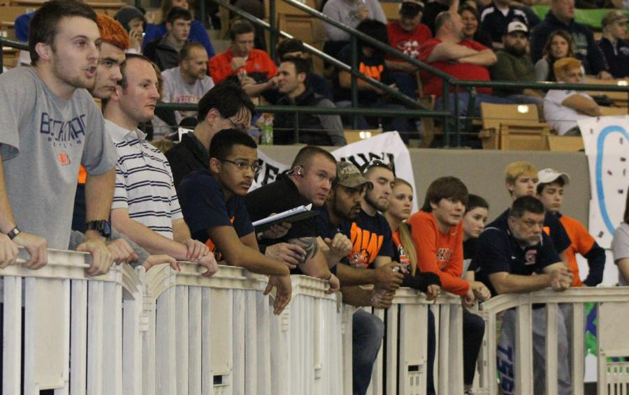 Blackman Fans line up on the rail for Sells' semi-final match