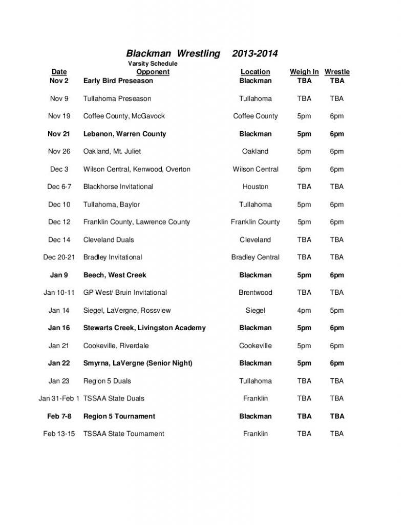 13-14 Wrestling Schedule