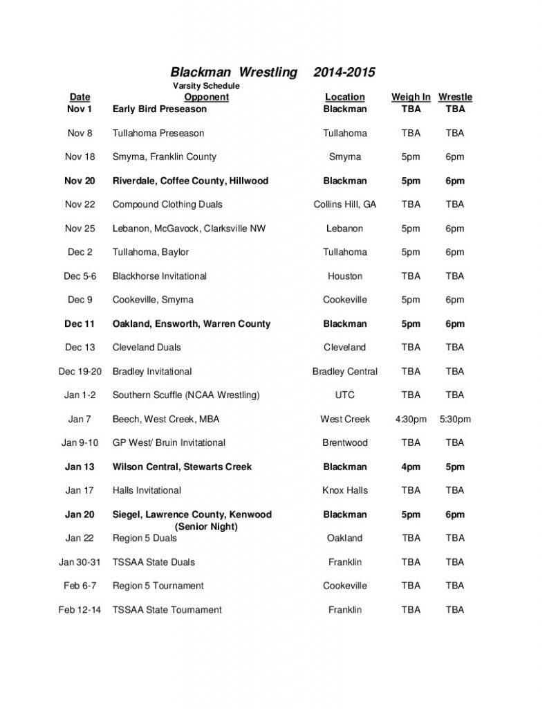 14-15 Wrestling Schedule