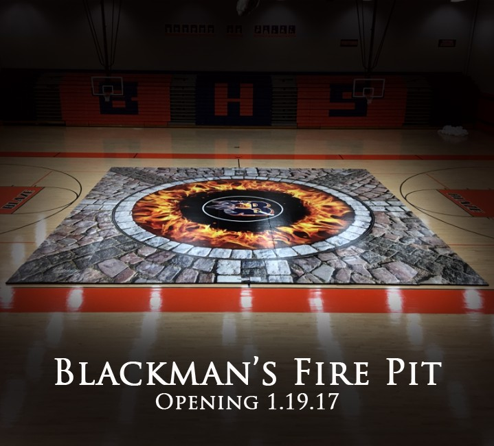"""Blackman's New Wrestling Mat - """"The Fire Pit"""""""
