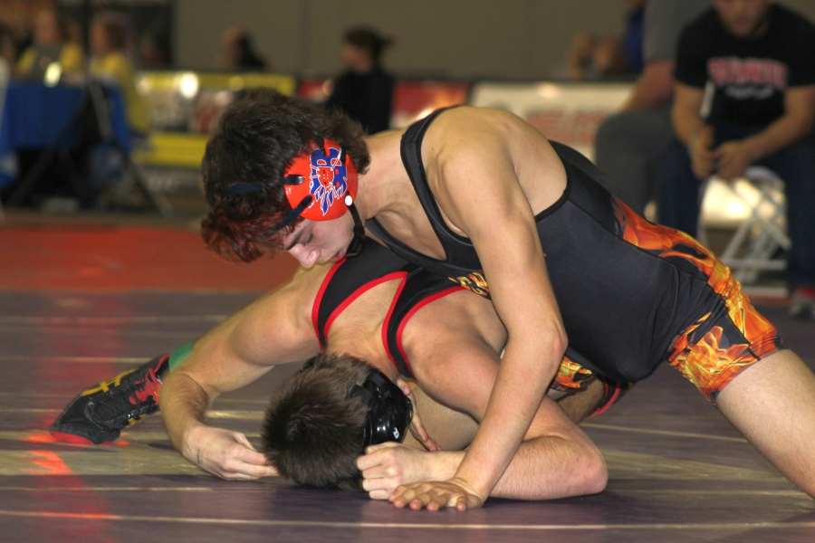 Brooks Sacharczyk works to control his opponent